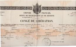 Congé Militaire De Libération 1863 / Empire Français / 3 Cachets Aigle Couronné + Timbre Sec - Militaria