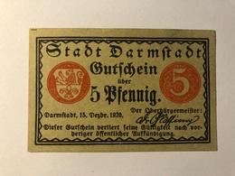 Allemagne Notgeld Darmtadt 5 Pfennig - [ 3] 1918-1933 : Weimar Republic