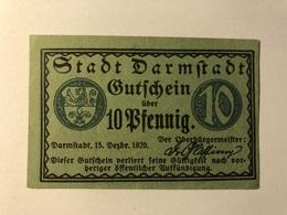 Allemagne Notgeld Darmtadt 10 Pfennig - [ 3] 1918-1933 : Weimar Republic
