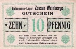 Germany 10 Pfennig, Lager Zossen, Prisoner Of War Money, UNC - [ 2] 1871-1918 : German Empire
