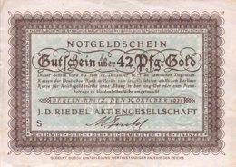 Germany/J.D. Riedel AG Berlin 42 Pfennig Gold, (1923) - AU - [ 2] 1871-1918 : German Empire
