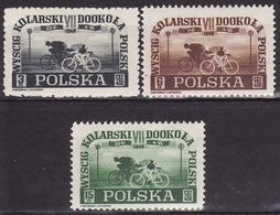 Polska 1948  Mi 487-489 - Cycle Racing - MVLH* VF - Unused Stamps