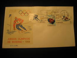 Madrid 1968 Grenoble France Ski Skiing Bob Sleigh Bobsleigh Ice Hockey Olympic Games Olympics Fdc Cover Spain - Ski