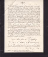 CHATEAU DE MONTMARIN PAR BESSAN (Herault) AVIS DE DECES DE LOUISE MARIE ALINE DE KERGORLAY VIC. DE SARRET DE COUSSERGUES - Obituary Notices