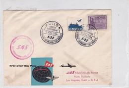 FIRST FLIGHT SAS SCANDINAVIA~LOS ANGELES 1951-BLEUP - Airmail