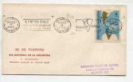 SOBRE BANDELETA PARLANTE AVIACION NAVAL PRIMER VUELO AL POLO SUR ARGENTINA 1966 -LILHU - Polar Philately