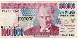 LOTTO 3 BANCONOTE TURKEY- 1 MILL,20,5 LIRA -UNC,XF VG - Turquie