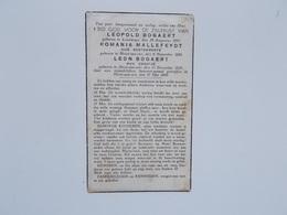 Bidprintje: Leopold BOGAERT, Echtg. Romania MALLEFEYDT En Zoontje Leon, Door Vijandelijken Bommen-aanval Getroffen 1940 - Faire-part