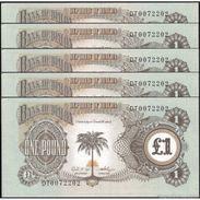 TWN - BIAFRA 5a - 1 Pound 1968-69 DEALERS LOT X 5 - Prefix DT UNC - Billets