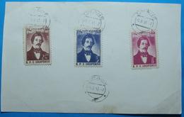 1958 Albania 3 Stamps On Paper 2.5, 5 And 8 Lek, Naum Veqilharxhi, Seal TIRANA - Albania