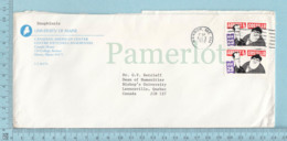 USA 1991 Comedians: Twin Stamp Abbott &Costelo 29c On A Commercial Envelope, University Of Main -> Lennoxville Quebec - Etats-Unis