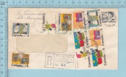 Canada - Noel, 10 Timbres De Noel 1971, Registered Envelope, Postmark St. Germain De Grantham Qoebec - Noël