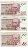 Lot De 3 Billets De 100 Francs Ayant Circulés - 100 Francs