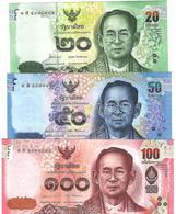 THAILAND 20 50 100 บาท (BAHT) ND (2012-2016) P.118-120 UNC [TH181-183] - Thailand