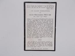 Bidprintje: Zijne Heiligheid PIUS XII, 20e Paus Van Rome, Eugenio PACELLI, Rome 2/3/1876 - 9/10/1958 - Announcements