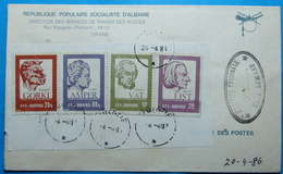 1986 & 87 Albania 4 Stamps On Cover 25, 80q, 1.20, 2.40 Lek, Famous World Personalities, Seal TIRANA - Albania