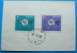 1965 Albania Stamps 2.5 & 12.5 Leke (100 Years Of International Telecommunication), On Cover, Seal TIRANA, RARE - Albania