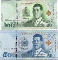 THAILAND 20 50 บาท (BAHT) 2015 (2017) P.135-136 UNC SET [TH188a-189a] - Thailand