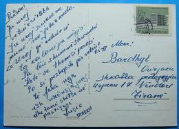 1966 Albania Happy New Year Postcard Sent From DIVJAK To TIRANA, Stamp: TIRANA SANATORIUM - Albania
