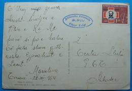 1964 Albania Happy New Year Postcard Sent From TIRANA To SHKODRA, Stamp: 1.50 Leke, 100 Years Red Cross - Albania