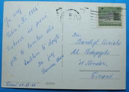 1966 Albania Happy New Year Postcard Sent From TIRANA To TIRANA, Stamp: 15q, TIRANA SANATORIUM - Albania