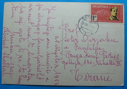 1963 Albania Happy New Year Postcard Sent From SHKODRA To TIRANA, Stamp: 1.5 Leke 20 YEARS ARMY FORMATION - Albania