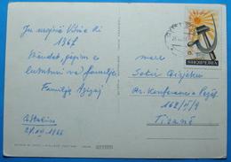 1966 Albania Happy New Year Postcard Sent From QYTETI STALIN To TIRANA, Stamp: 15q 25 YEARS P.P.SH., Very Rare Seal - Albania
