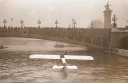 France Paris Aviation Hydravion Sur La Seine Ancienne Photo 1910's - Aviación