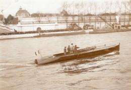 Couleurs De Paris Canot Automobile Le Flambeau Ancienne Photo Branger 1913 - Boats