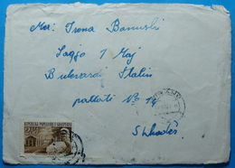 1963 Albania, Airmail Cover Sent From Tirana To Shkodra, Seal TIRANA, Stamp:2.5 Leke COTTON FACTORY At FIER - Albania