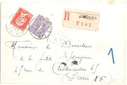 LIMOGES Haute Vienne Lettre Recommandée 45c Pasteur Rouge 60c Violet Semeuse Lignée Ob 1925 Yv 175 200 - France