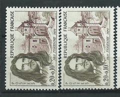 [25] Variété :   N° 1258 Turenne Cheveulure Brun-grise Clair + Normal ** - Varieties: 1960-69 Mint/hinged