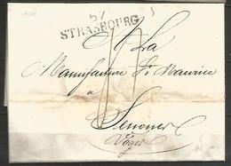 (D104) LAC De STRASBOURG (67 STRASBOURG En Noir) Vers SENONES Vosges Du 31/12/1817 - Marcophilie (Lettres)