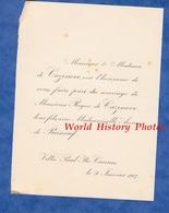 Document De 1907 - CANNES , Villa Paul Ita - Mariage De Melle Anne De PUINEUF & Roger De CAZENOVE - Mariage