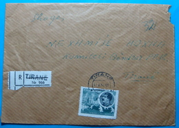 1964 Albania Registered Cover Sent To NEXHMIJE HOXHA Wife's Pesident, Seal: TIRANA, Stamp: 8 Lele STALIN - Albania