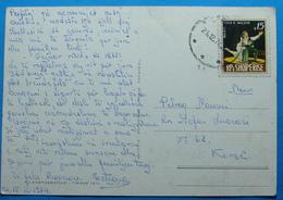 1974 Albania Postcard FLORA Sent From KORCA, Seal: KORCA, Stamp: 15q. Ballet CUCA E MALEVE - Albania