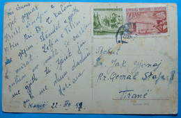 1957 Albania Postcard BUON NATALE Sent From KORCA, Seal: KORCA, Stamp: 0.50 & 1 Leke. Ballet 10y. Liberation, TOBBACO FA - Albania