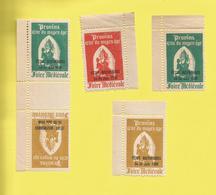 Provins  77 France Vignette érinophilie  De 5 Vignettes De 3 Couleurs  Dentelées Et Surchargées 24-25 Juin 1950 - Tourism (Labels)