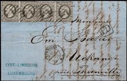 1852 Lettre 4x Guillaume III 10c. De Luxembourg Vers Uckange, Certifié Calves, 5scans, Val.Cat. 2.050€ - 1852 Guillaume III