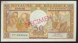 °°° SPECIMEN BELGIUM 50 FRANCS 1956 UNC °°° - [ 6] Treasury
