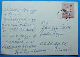 1986 Albania Flora Postcard Sent From Vlora To Tirana,  Seal: VLORA, Stamp: 20q. VLORA MONUMENT - Albania