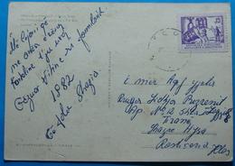 1981 Albania Tirana Postcard Sent From Klos To Tirana,  Seal: KLOS, Stamp: 15q. Heavy Industry, RARE - Albania