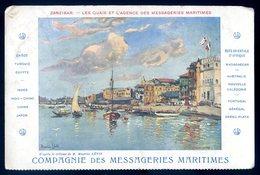 Cpa Tanzanie Zanzibar Les Quais Et L' Agence Des Messageries Maritimes -- Tableau De Maurice Lévis   YN11 - Tanzanie