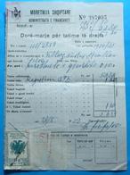 1937 Albania KINGDOM 2 Fiscal Revenue Stamps On Tax Document - Albania