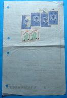 1947 Albania 6 Fiscal Revenue Stamps On BIRRA KORCA PAYMENT RECEIPT - Albania