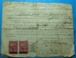 1947 Albania 3 Fiscal Revenue Stamps On City Of BERAT Document, Seal: BERAT - Albania