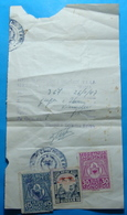 1947 Albania Document With 3 Fiscal Revenue Stamps - Albania