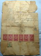 1947 Albania Document With 7 Fiscal Revenue Stamps, Seal: ZAGORCAN. Rare - Albania