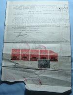 1947 Albania Document With 6 Fiscal Revenue Stamps, Seal: KORCA. Rare - Albania