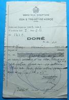 1943 Albania KINGDOM IIW.W. Document ODA TREGTARE KORCE. - Albania